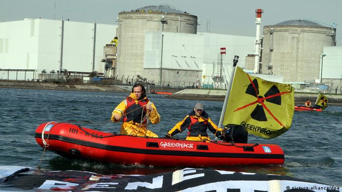 Greenpeace protesters in a boat