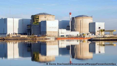 Fessenheim nuclear reactor with protest banner