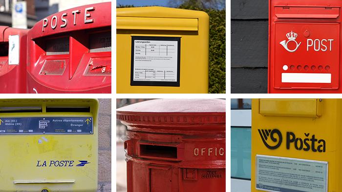 Bildmontage Verschiedene Europäische Briefkästen