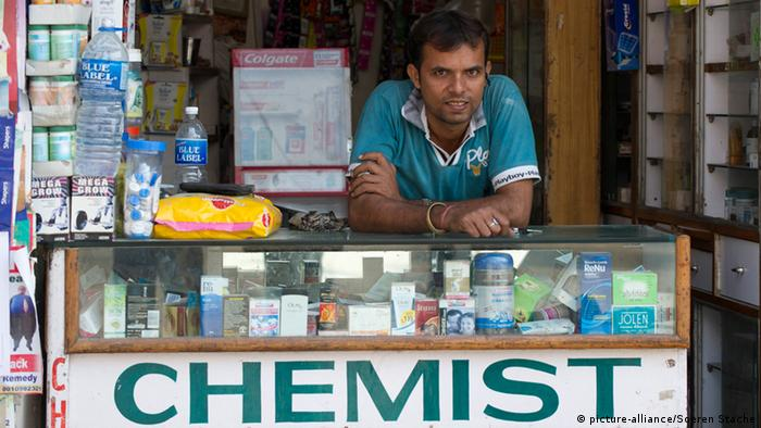 A shopkeeper in New Delhi
