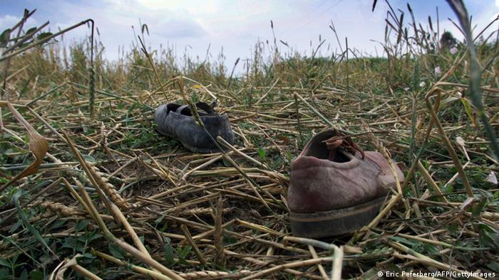 Picture of shoes near Doslica Zejnel bank in Bela Crkve. Bela Crkve Kosovo
