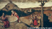 2-R42-F35-1552 (155125) 'Christus und die Samariterin am Jakobsbrunnen' Cranach, Lucas d.Ä. 1472-1553 'Christus und die Samariterin am Jakobsbrunnen', 1552. Öl auf Leinwand, 89 x 171 cm. Privatbesitz. E: 'Christ and the samaritan woman at the well of Jacob' Cranach, Lucas the Elder 1472-1553 - 'Christ and the samaritan woman at the well of Jacob', 1552. - Oil on canvas, 89 x 171cm. Private collection.