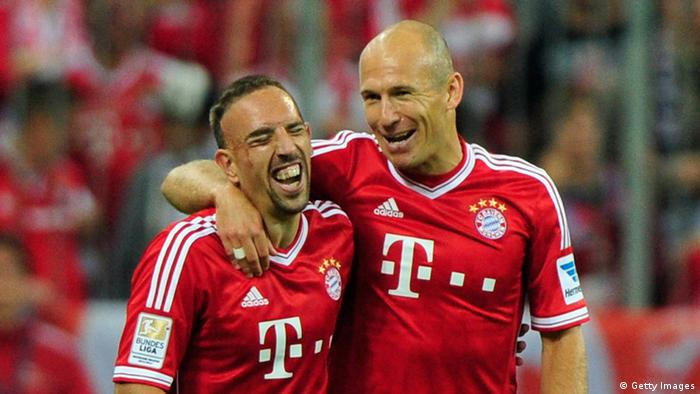 Franck Ribery and Arjen celebrating a victory