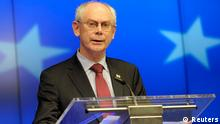 European Council President Herman Van Rompuy holds a news conference at a European Union leaders summit in Brussels March 21, 2014. EU leaders agreed on Thursday to expand the bloc's list of people targeted with sanctions over tensions in Ukraine by 12 names and warned that further economic measures against Russia could be taken if the situation in Ukraine worsens. REUTERS/Laurent Dubrule (BELGIUM - Tags: POLITICS)