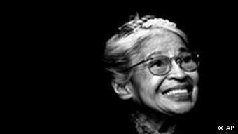 Rosa Parks smiles during a ceremony where she received the Congressional Medal of Freedom in Detroit, in a Nov. 28, 1999 photo. Parks, whose refusal to give up her bus seat to a white man sparked the modern civil rights movement, died of natural causes in her Detroit home Monday, Oct. 24, 2005, she was 92. (AP Photo/Paul Sancya, file)