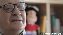 Argentinian cartoon illustrator Joaquin Salvador Lavado Tejon 'Quino' during an interview on 14 march 2014 in his residence in Madrid, Spain. Although inmersed in the 50th anniversary celebration of his comic strip creation Mafalda. Quino, aged 82, has stated that for him this irreverent girl is just another drawing and has not hesitated to describe himself as a carpenter that made a good furniture piece. EFE/ZIPI