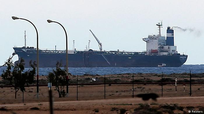 North Korean-flagged tanker, the Morning Glory, is seen docked at the Es Sider export terminal in Ras Lanuf