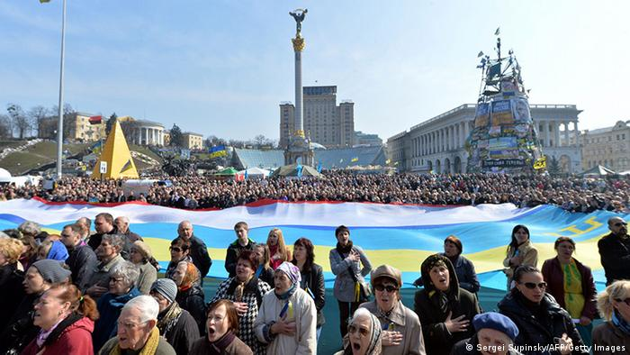 Protesters in Maidan Square. (Photo: SERGEI SUPINSKY/AFP/Getty Images)