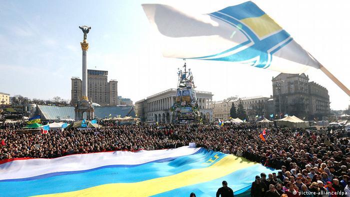 Акция на Майдане против аннексии Крыма Россией