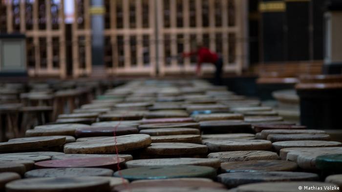 Ai Weiwei's art work made out of wooden chairs, Copyright: Mathias Völzke