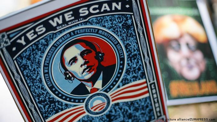 Ein Obama-Plakat, das Yes, we scan sagt (Foto: David von Blohn/NurPhoto)