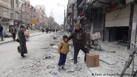Bild aus dem Yarmouk Camp bei Damascus in Syrien