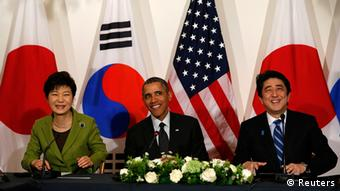 Niederlande Treffen zwischen Obama Park Geun-hye und Shinzo Abe in Den Haag