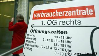 Табличка с надписью Verbraucherzentrale