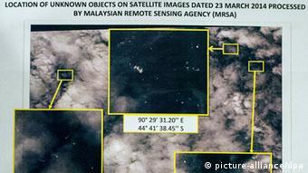 Satellitenaufnahme vom 23. März, auf der im Meer treibende Objekte erkennbar sind (Foto: picture-alliance/dpa)