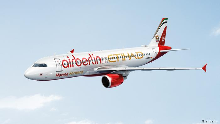 Air Berlin plane, also showing Etihad logo
