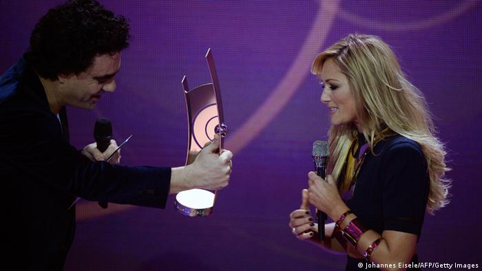 Rolando Villazon and Helene Fischer at the 2014 Echo Pop Music Awards ceremony, Copyright: Johannes Eisele/AFP/Getty Images