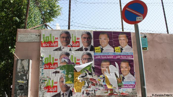 Plakate für Kommunalwahl in Nazareth. (Foto: DW/ Marijke Peters)