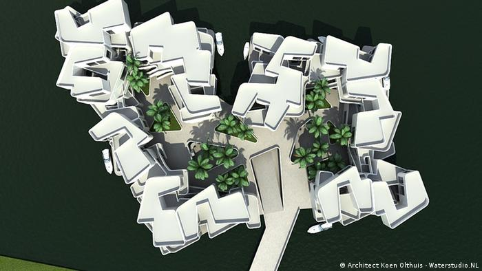 A photo model of a planned floating houses settlement in the Netherlands, taken from above (Image: Waterstudio.NL)