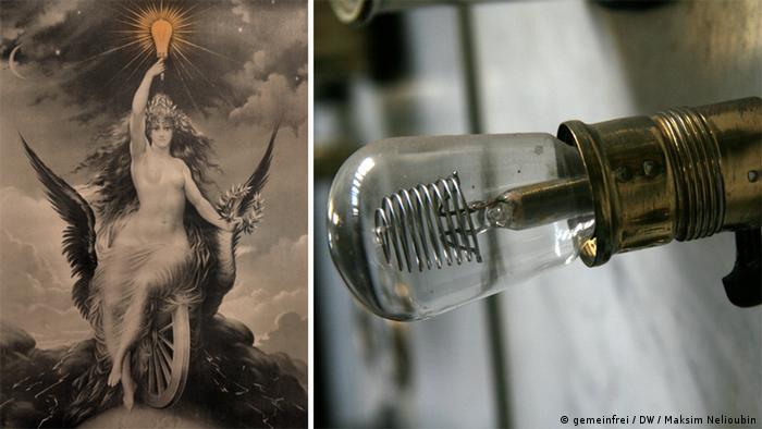 Плакат начала прошлого века в музее станции и лампочка на пульте управления