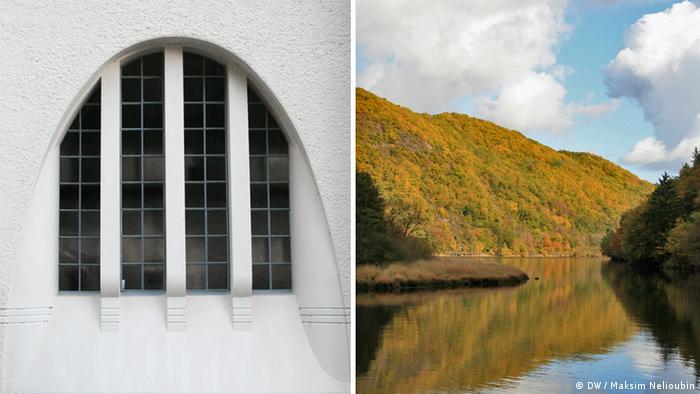 Окно машинного зала и озеро, на берегу которого расположена станция в Хаймбахе