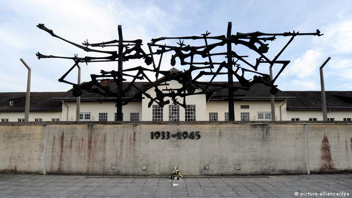 Sculpture over the outer wall of the Dachau Concentration Camp