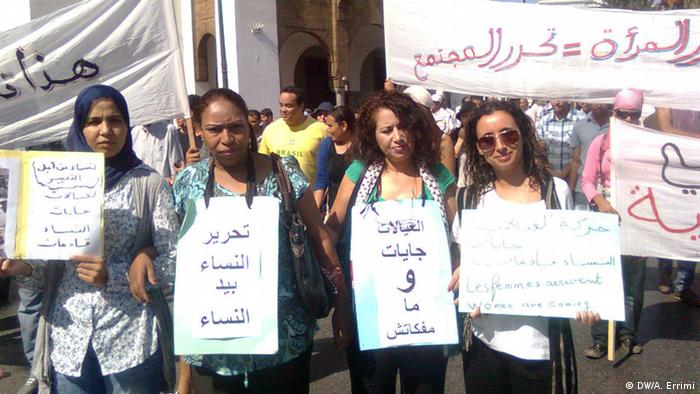 Protestierende Frauen in Rabat