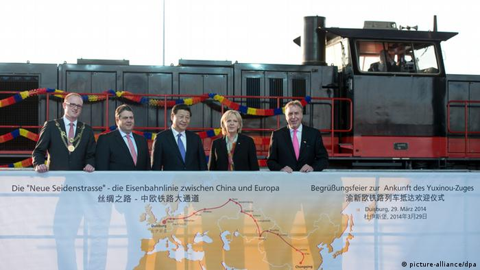 Chinas Präsident Xi in NRW Sigmar Gabriel Hannelore Kraft (picture-alliance/dpa)