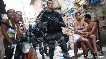 Brazilian military police in a Rio favela