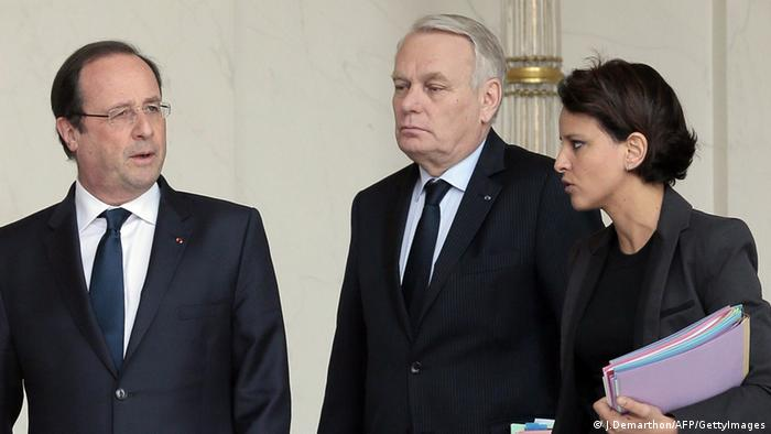 Hollande, Ayrault und Vallaud-Belkacem