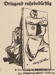 Hitler-Karikatur (Reproduktion) Ohsers von 1932 für den Vorwärts (Zeichnung im Besitz der Erich Ohser - e.o.plauen Stiftung)