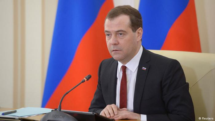 Russia's Prime Minister Dmitry Medvedev chairs a government meeting in the Crimean city of Simferopol, March 31, 2014. (Image obtained via Reuters, from third party.)