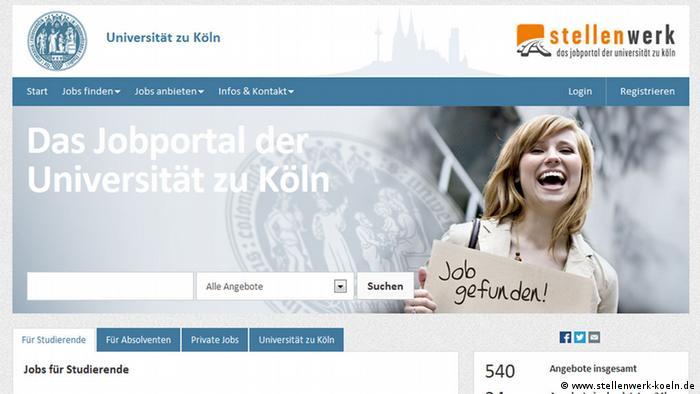 Так выглядит региональная страница Кельна в портале Stellenwerk