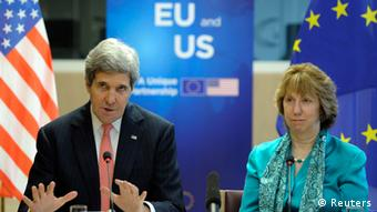 U.S. Secretary of State John Kerry (L) addresses a news conference with European Union foreign policy chief Catherine Ashton at the European External Action Service (EEAS) building in Brussels April 2, 2014. (photo: REUTERS/Laurent Dubrule)