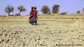 Women carry earthen pots on their hand in a desert landscape (Photo: dpa)