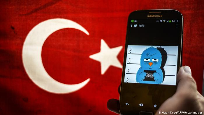 A picture representing a mugshot of the twitter bird is seen on a smart phone with a Turkish flag (photo: OZAN KOSE/AFP/Getty Images)