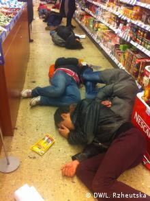 Лежачий флешмоб в одном из супермаркетов