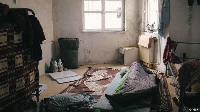 A picture of a makeshift bed in Komotini detention center in Greece.