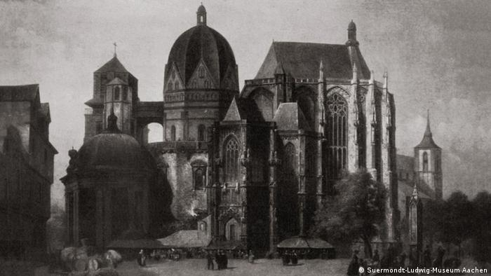 Black-and-white photo of the oil painting of the Aachen Cathedral (Photo: Suermondt-Ludwig-Museum Aachen)