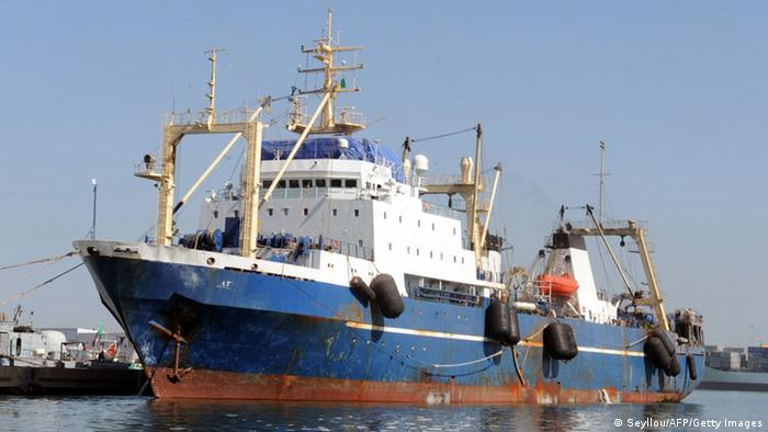A Russian trawler 'Oleg Naïdenov', observed fishing illegally in Senegalese waters. SEYLLOU/AFP/Getty Images)