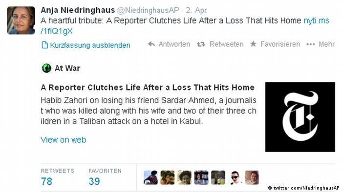 Screenshot - Twitterkonto von Anja Niedringhaus
