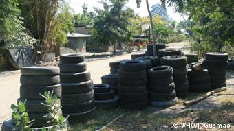 Used tires provide a prolific habitat and an ideal breeding site for several species of mosquitoes (Photo:WHO)
