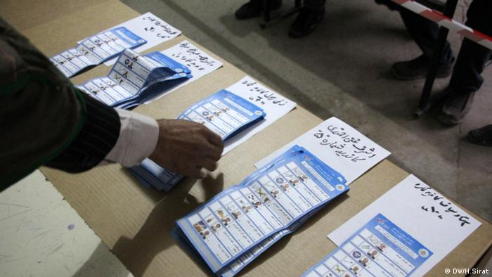 Ballot papers being lined up in Afghanistan