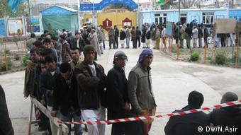 Photo shows the Afghan voters in a poling center in Mazar.