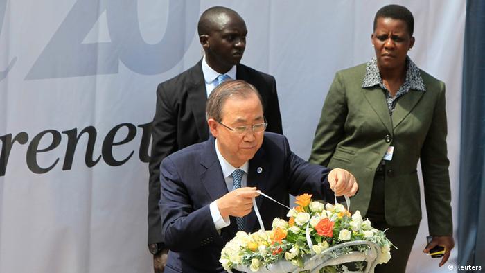 Ban Ki-moon lors de la cérémonie du 7 avril 2014 à Kigali