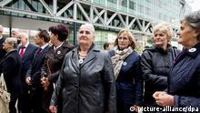 Srebrenica Gerichtsprozess in Den Haag 07.04.2014 Klägerinnen