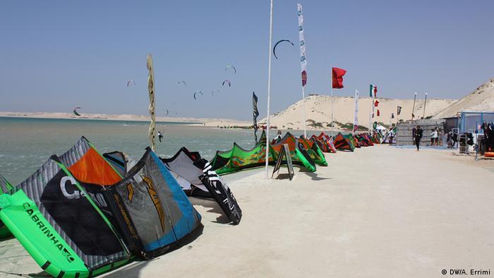 Marokko Kitesurfen Weltmeisterschaft in Dakhla Strand