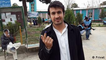 The picture shows Reshad Ahmadi showing his ink-stained finger after he cast his vote on April 5 elections in Afghanistan. Reshad says he shared this picture on his Facebook to encourage others to go to polls.