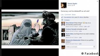 his was one of the pictures that circulated among Facebook users during the social media campaign in support of the Afghan elections. It was also shared by Kabul based activist Rahim Rastin who says it was his favorite among election related campaign images. The caricature shows an Afghan woman in Burqa showing her ink-stained finger to an insurgent.