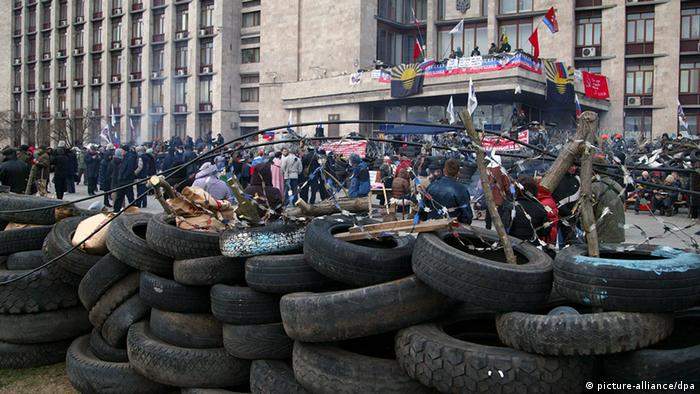 A barricade around the regional administration building in Donetsk